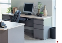 """Picture of 24"""" X 60"""" Steel Kneespace Credenza, 2 Filing Pedestals"""